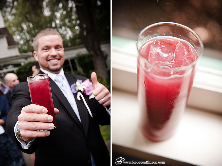 Custom Cocktails at a wedding reception featuring black tuxedos from The Tux Shop photographed by Rebecca Ellison Photography