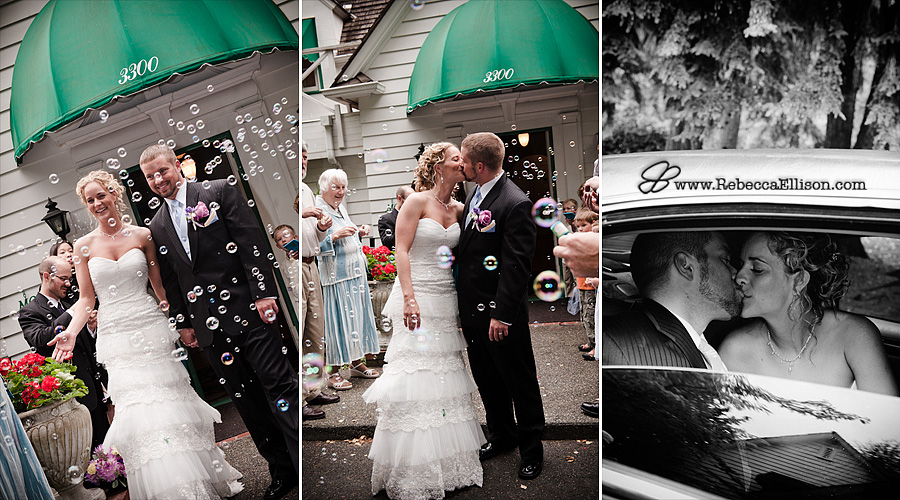 Bride and groom leave their wedding amdist a cloud of bubbles photographed by Bothell wedding photographer Rebecca Ellison