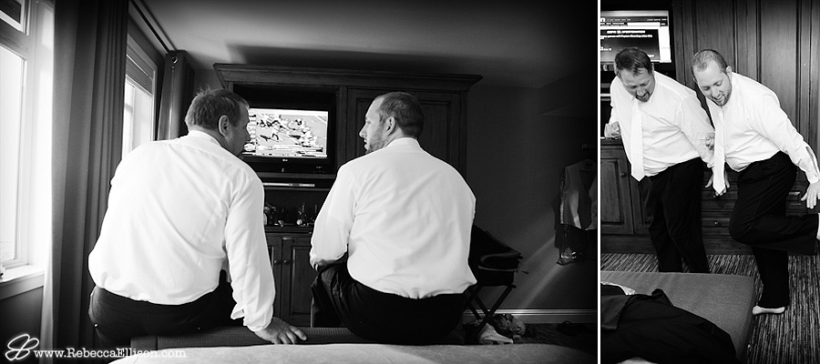 groom watching football with his dad