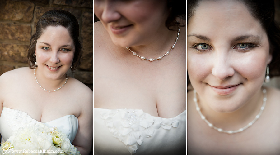 details of bride, her dress and jewelry
