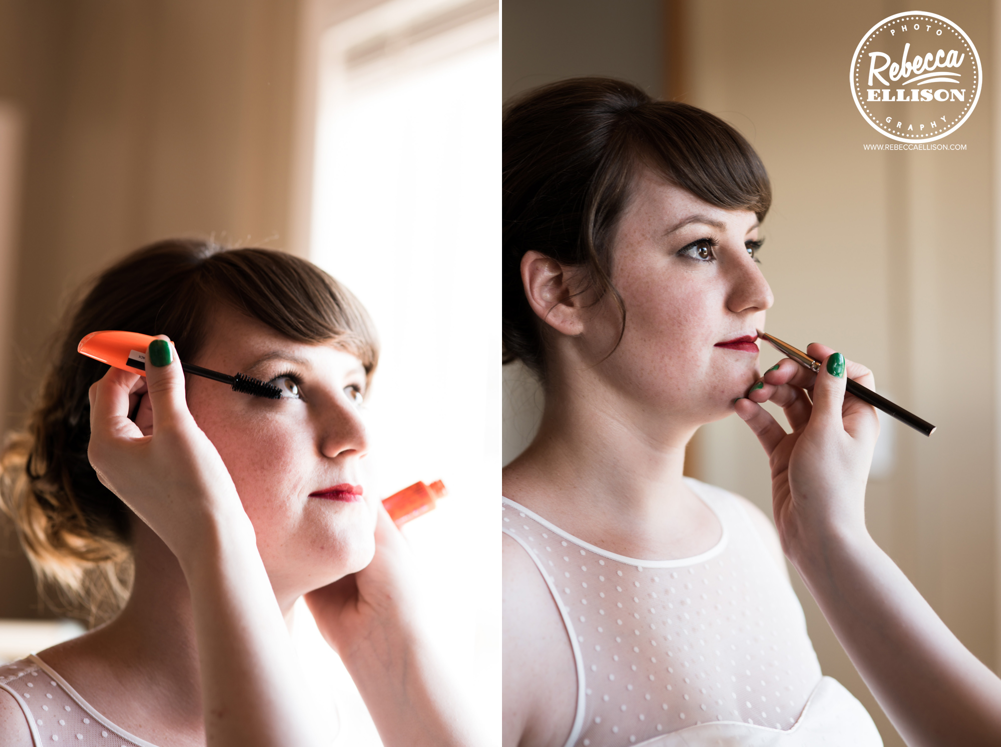 Bride gets ready photographed by seattle wedding photographer rebecca ellison