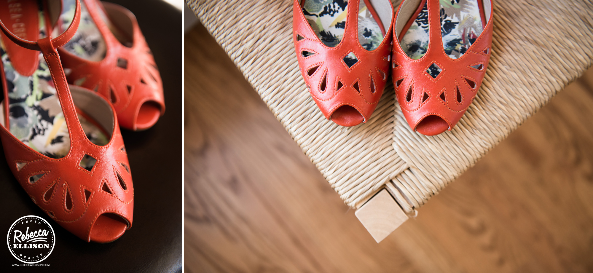 orange leather bridal shoes at a backyard beach house wedding near seattle