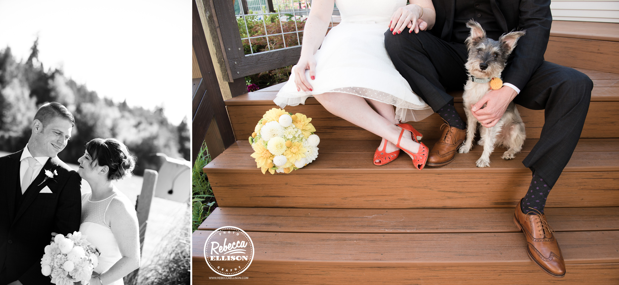 Bride, groom and dog at an orange and yellow beach house wedding near seattle featuring orange bridal shoes and a tea length wedding dress
