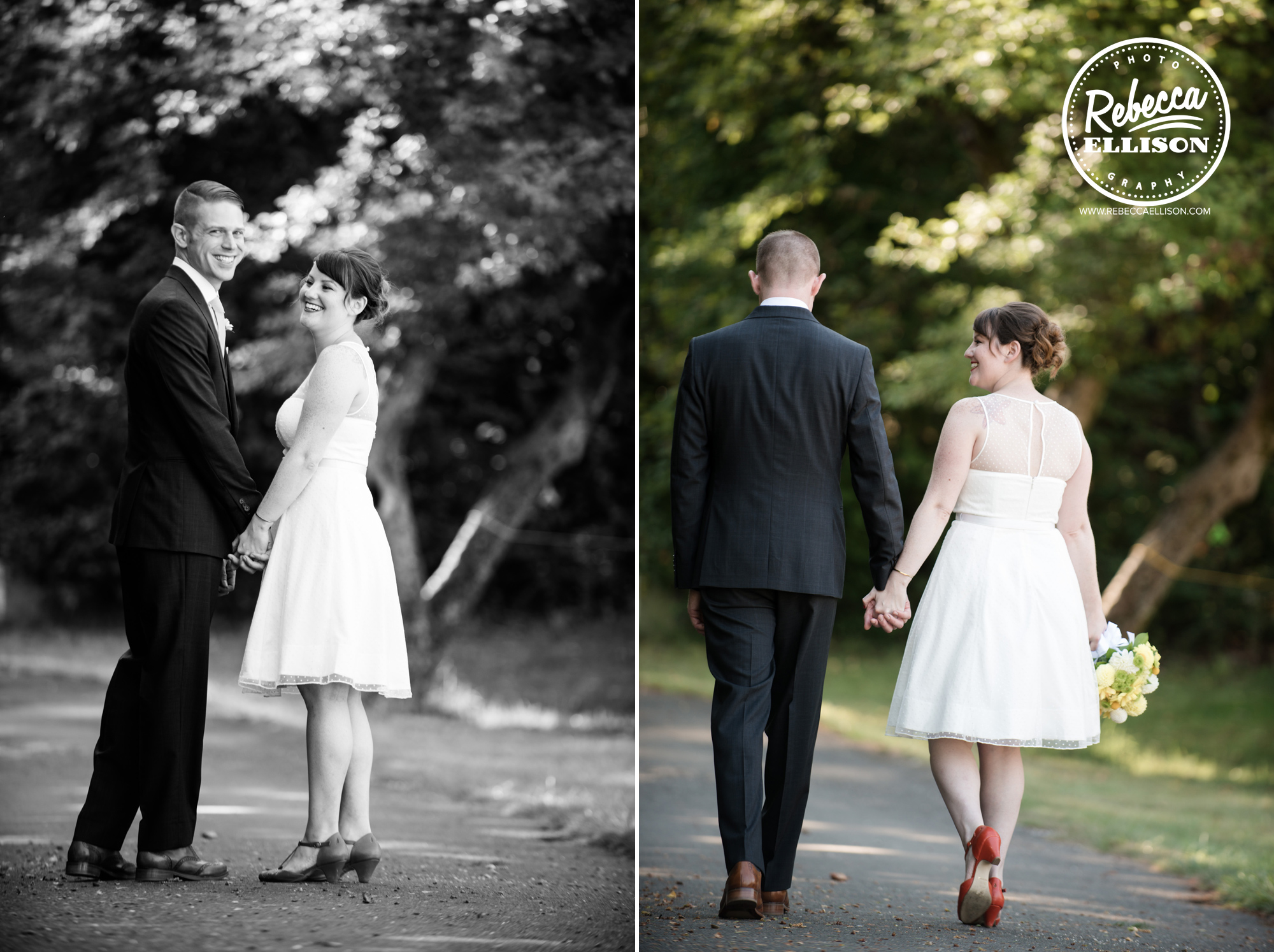 Bride and groom take a walk featuring and tea length wedding dress and orange shoes