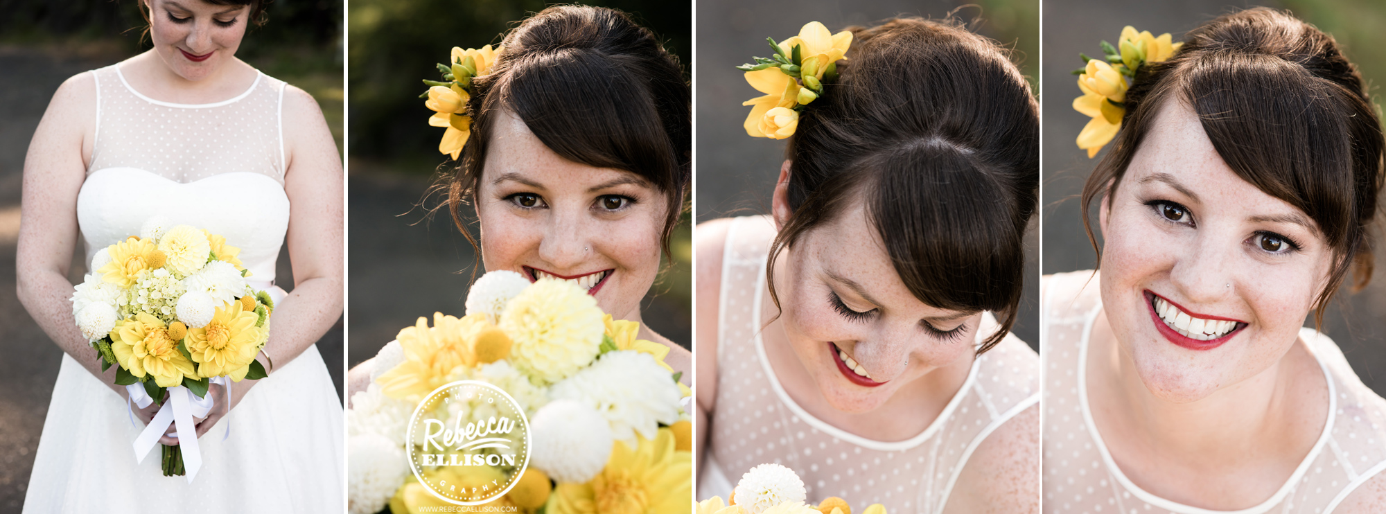 Bridal details featuring flowers, hair and makeup at an orange and yellow backyard beach house wedding photographed by Seattle wedding photographer Rebecca Ellison