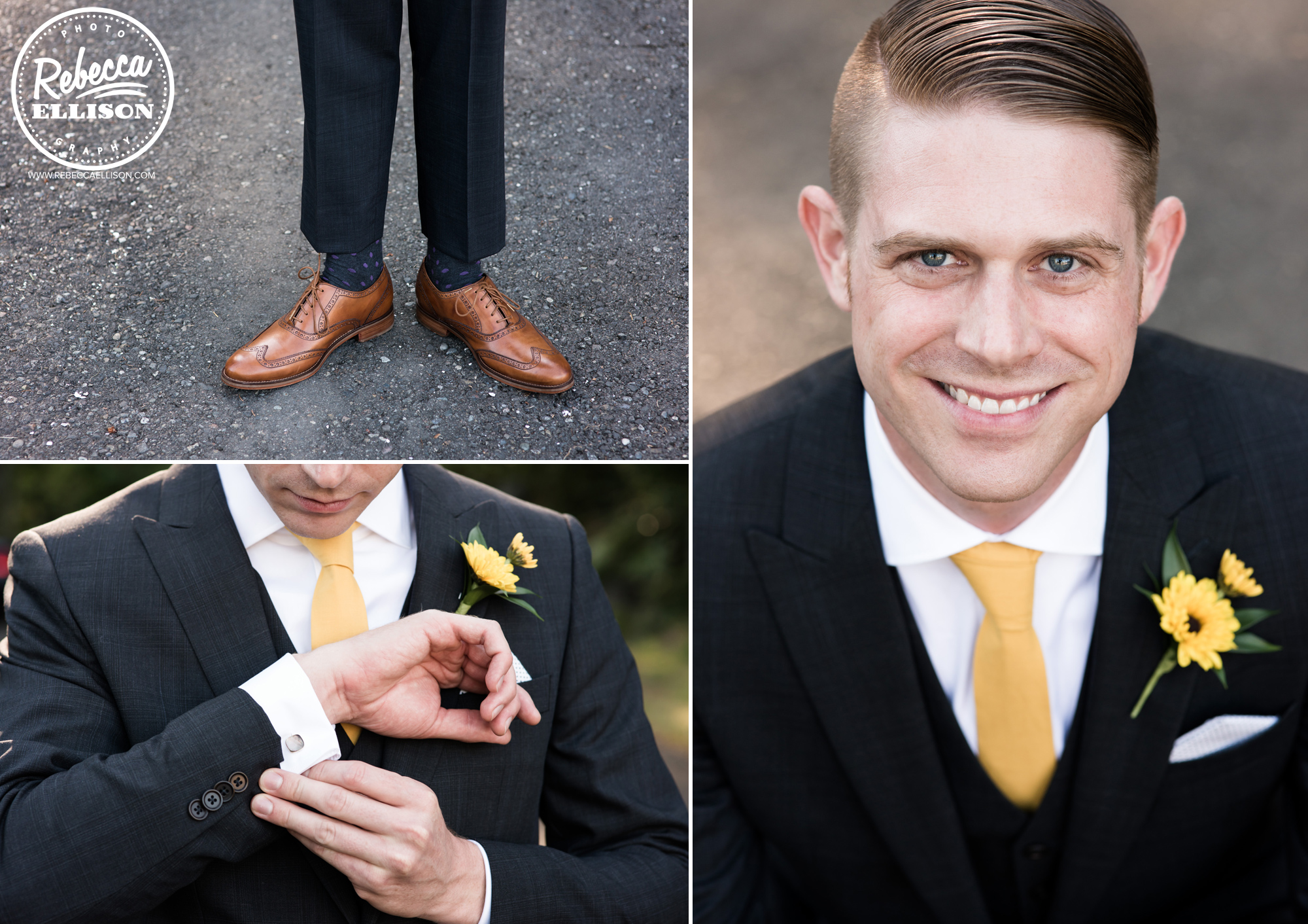 Groom details featuring shoes, cufflinks and boutonniere at an orange and yellow backyard beach house wedding near Seattle