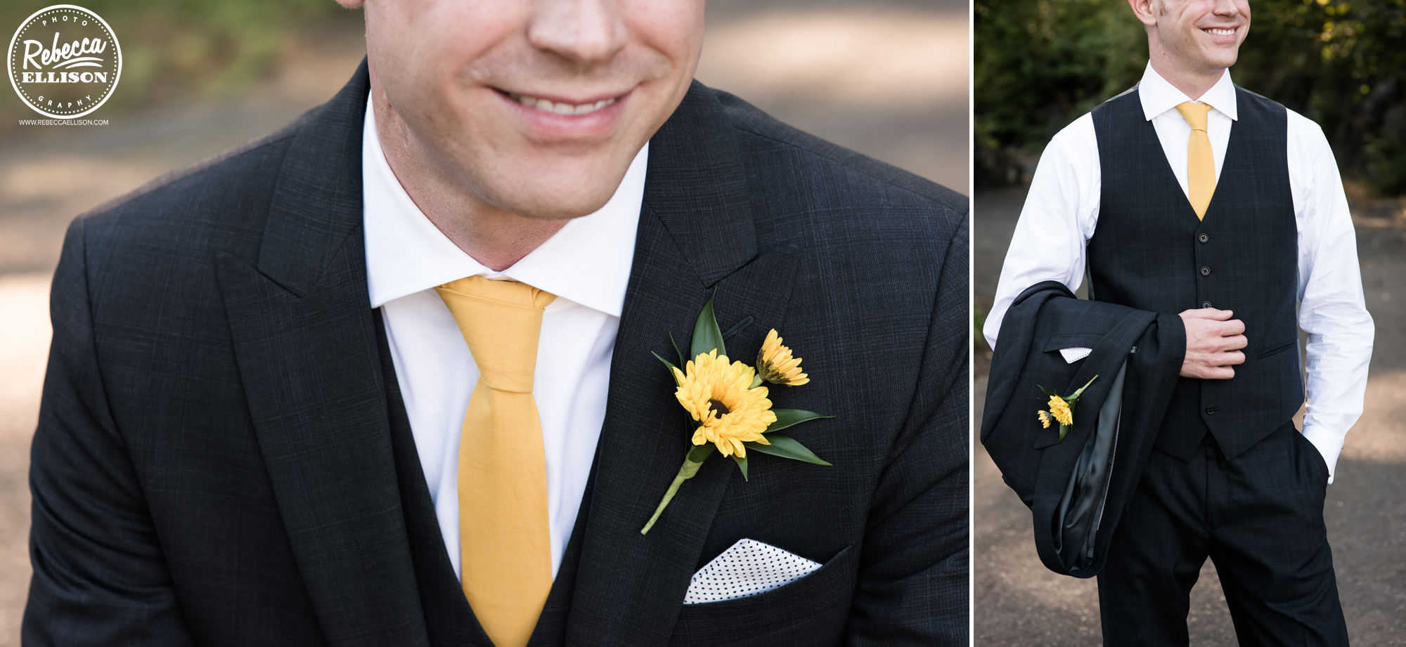 Groom details featuring yellow boutonniere and tie and a polka dot pocket square photographed by Rebecca Ellison Photography