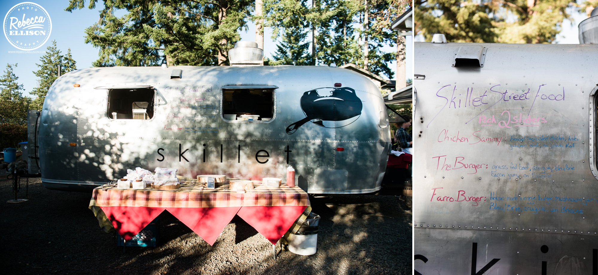 Vintage Food truck at a backyard beach house wedding near seattle photographed by Seattle wedding photographer rebecca ellison