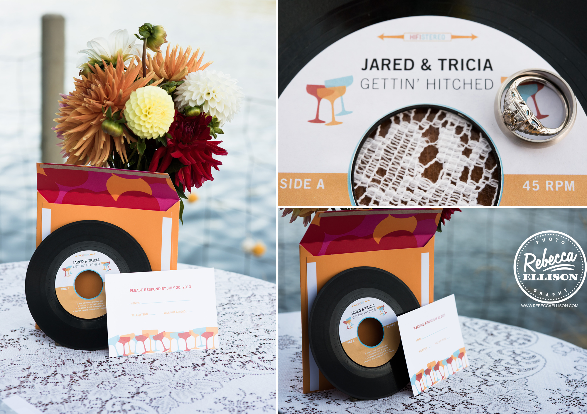 Flowers and vinyl record details at an orange and yellow backyard beach house wedding near Seattle photography by Rebecca Ellison