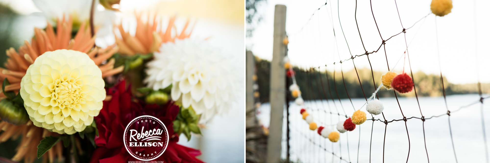 Flowers and decor at an orange and yellow backyard beach house wedding near seattle