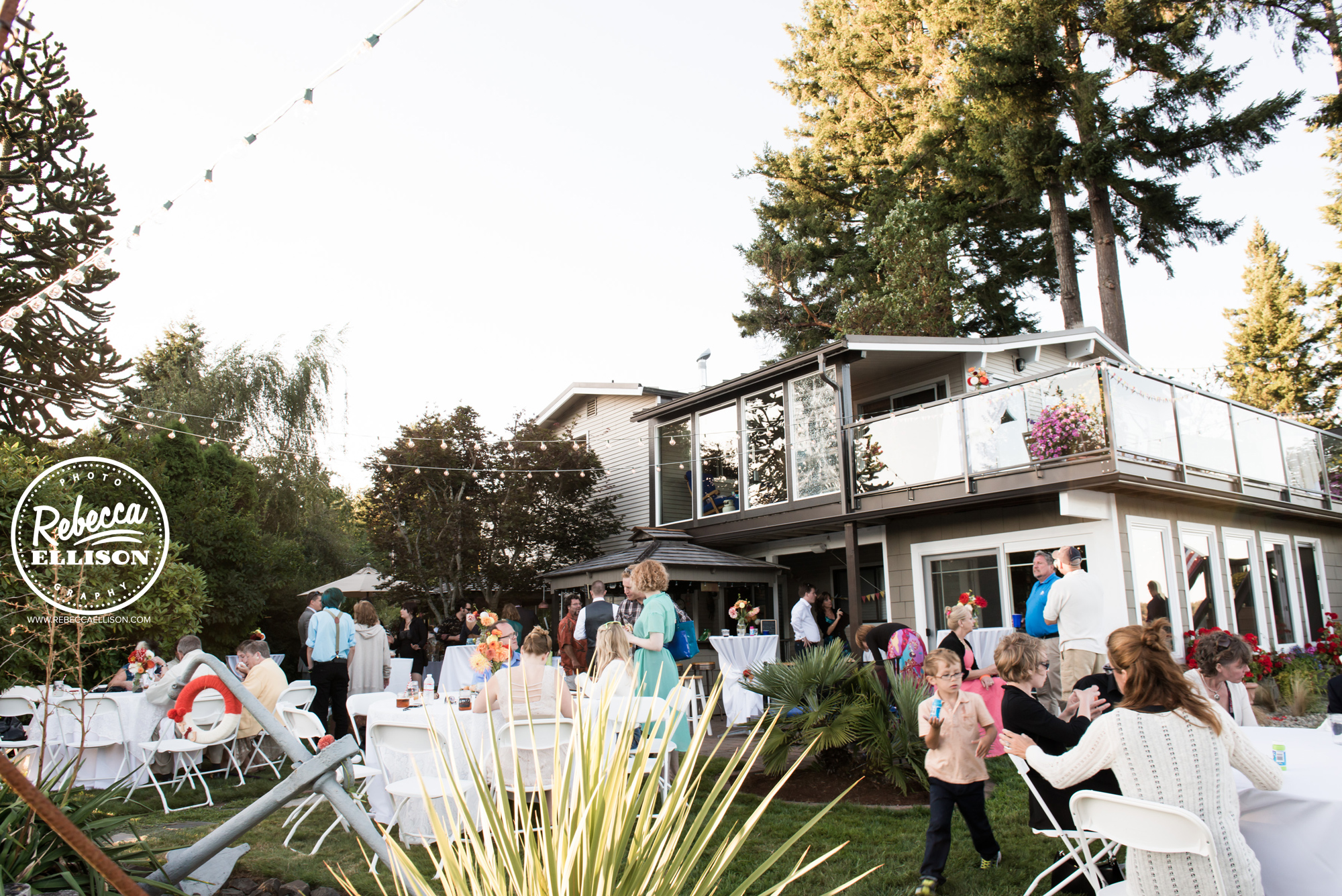 Wedding reception at a backyard beach house wedding near seattle photographed by Rebecca Ellison Photography