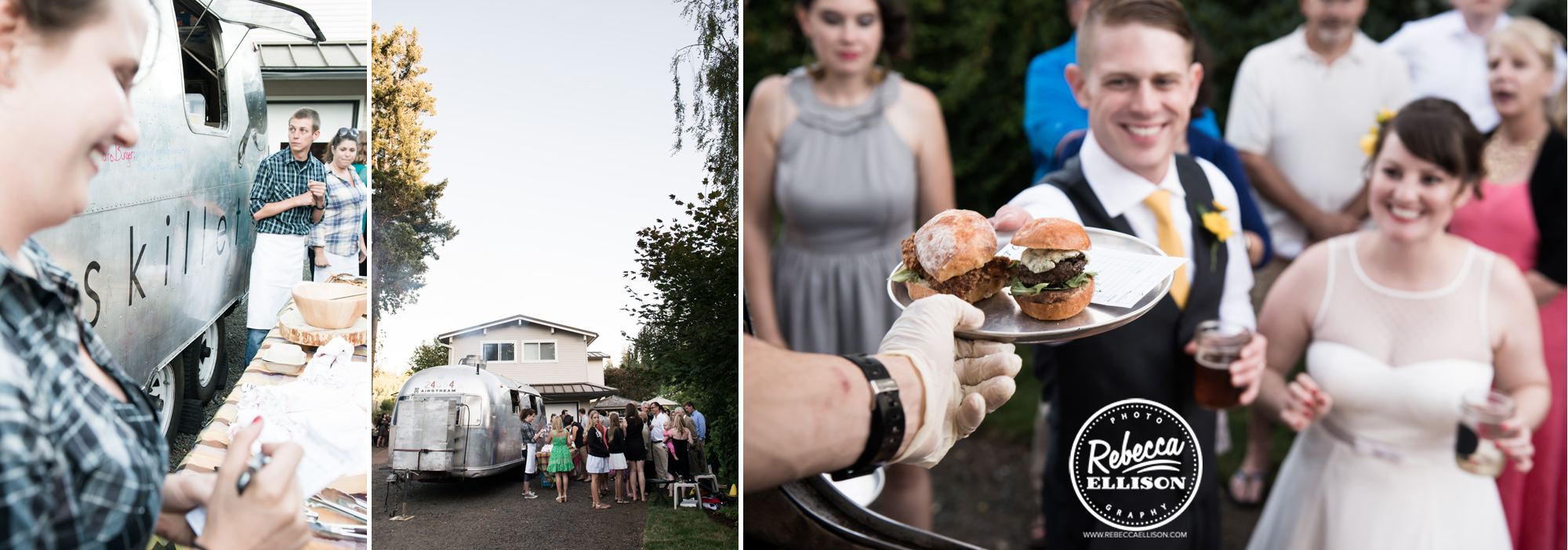 Food truck at a backyard beach house wedding reception photographed by seattle wedding photographer Rebecca Ellison