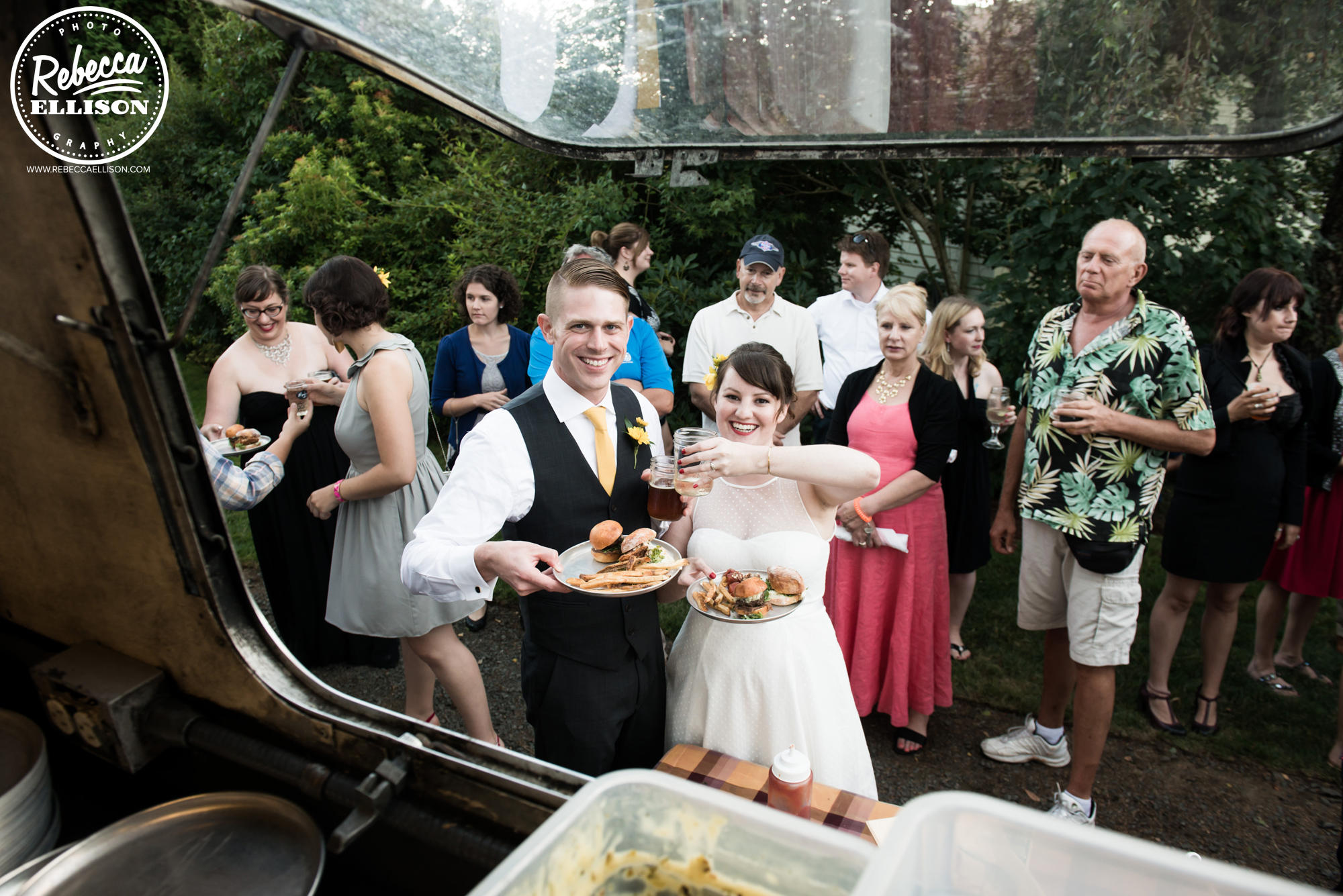 Food truck at a backyard beach house wedding reception