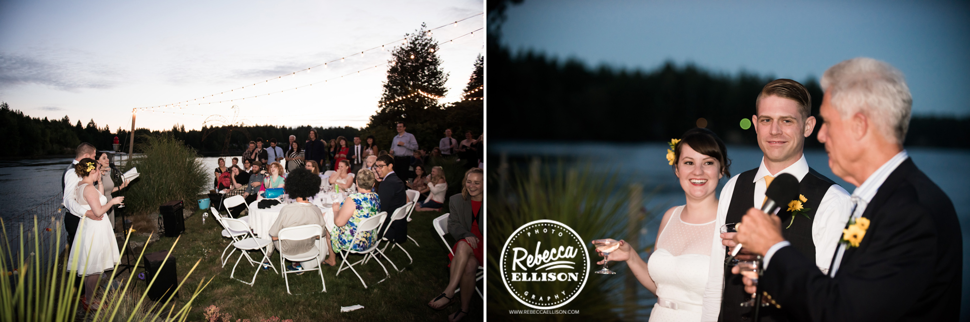 Toasts at a backyard beach house wedding reception near seattle photographed by Rebecca Ellison Photography