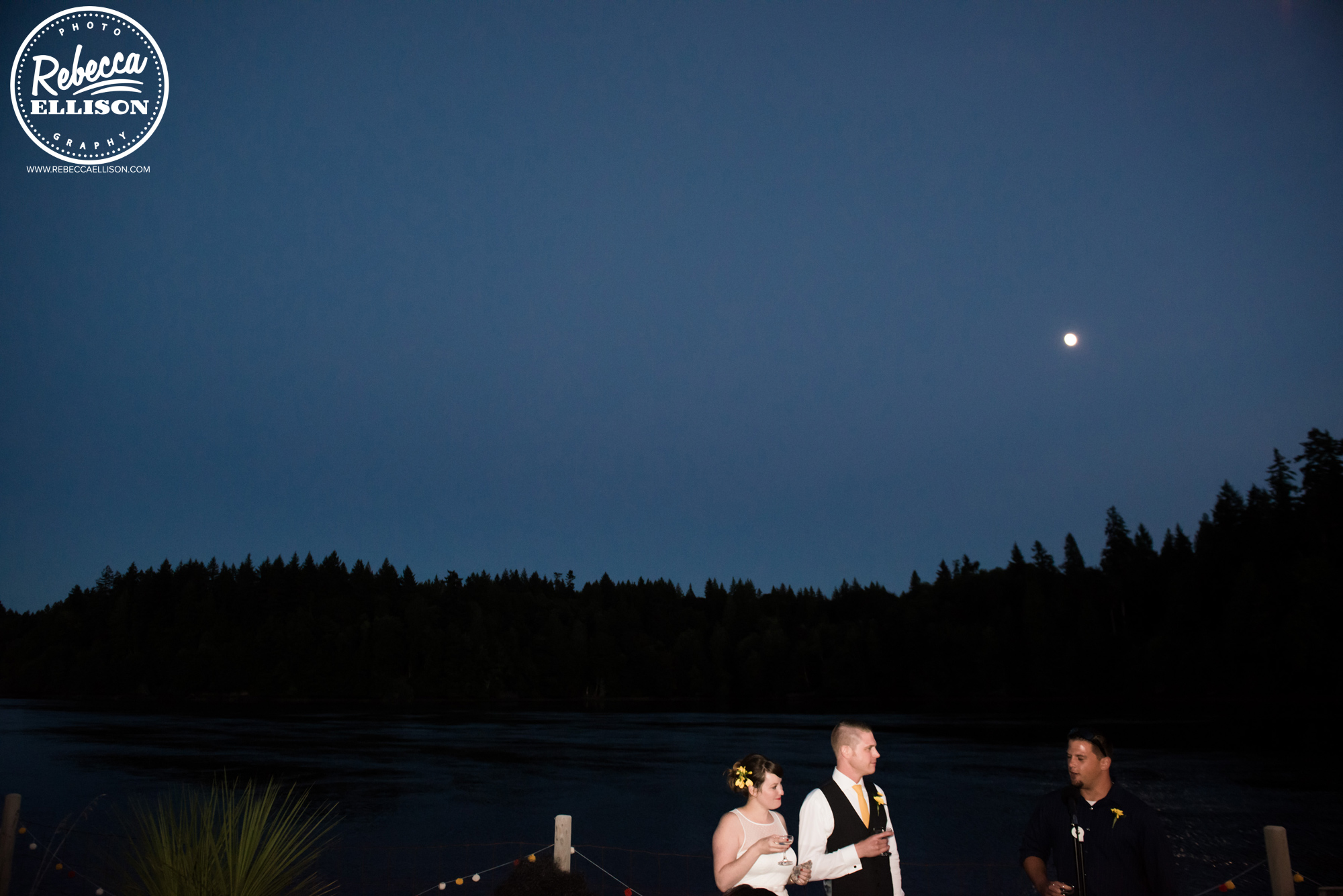 Moonrise at a backyard beach house wedding near Seattle photographed by Rebecca Ellison Photography