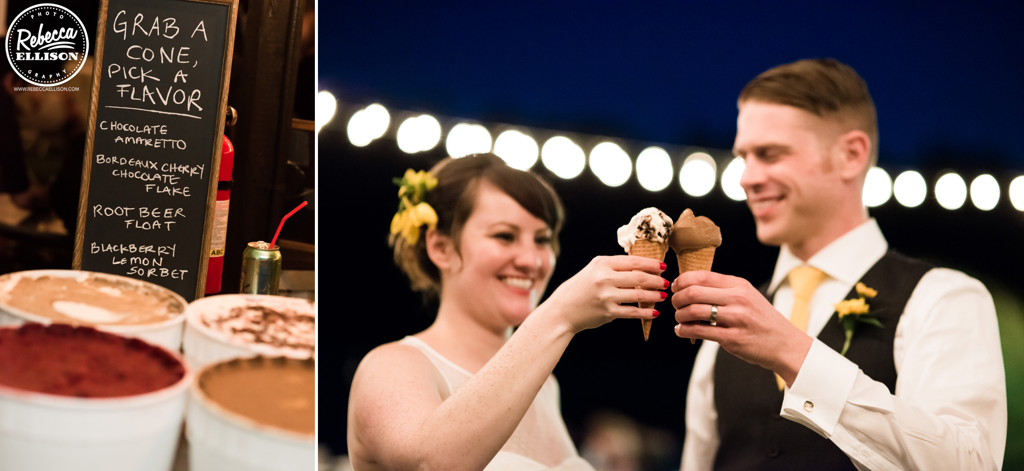 dessert ice cream bar at backyard beach house wedding photography by Seattle wedding photographer Rebecca Ellison