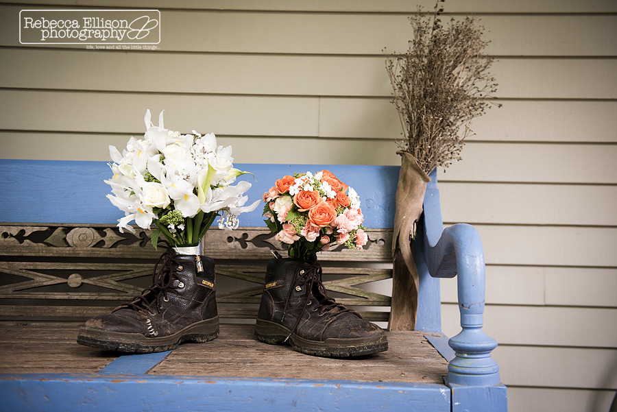 wedding bouquets held in old shoes
