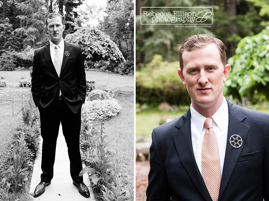 portraits of groom waiting in the backyard for the first site of his bride