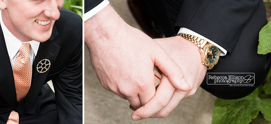 groom wears a shipping wheel pin instead of a boutineer for his wedding details