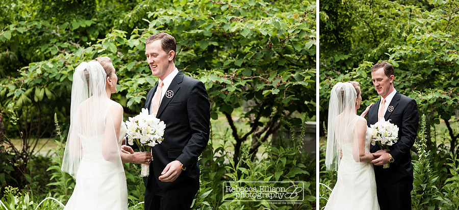 groom sees his bride for the first time during his vashon island wedding