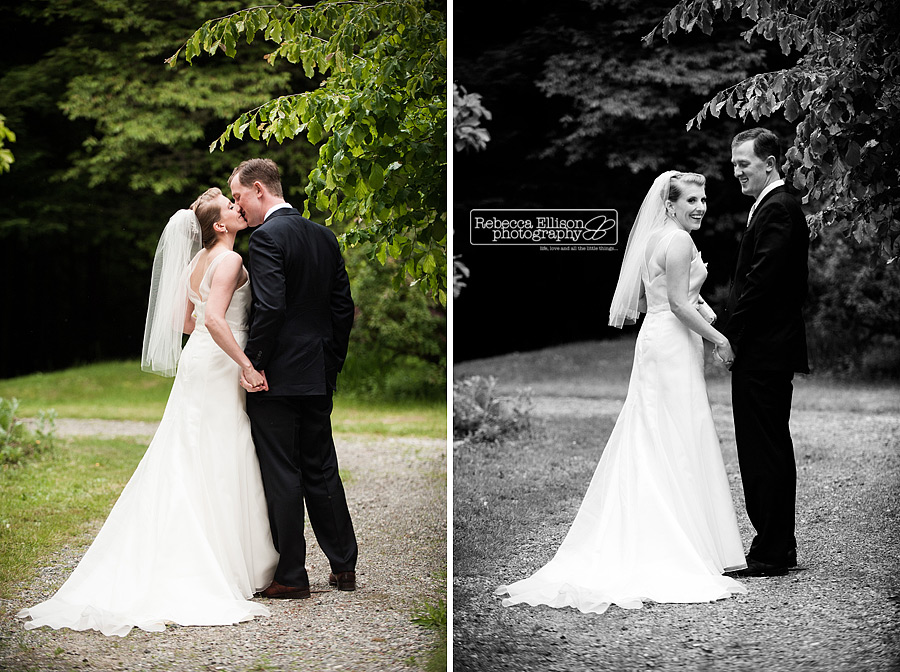 portraits of bride and groom walking down a dirt path, kissing and then looking back at the camera during their backyard wedding