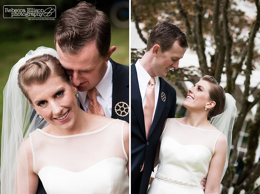 portraits of bride and groom at their vashon island wedding in the backyard of his parents house