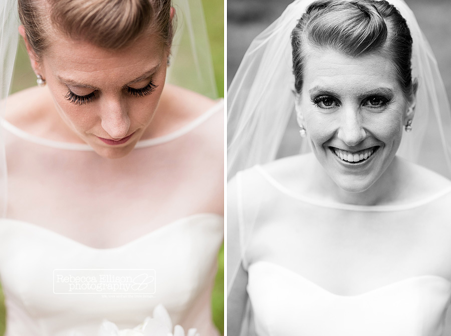 portraits of the bride and her wedding hair by Seattle wedding photographer Rebecca Ellison Photography