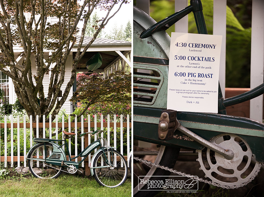 vintage bicycle themed backyard wedding