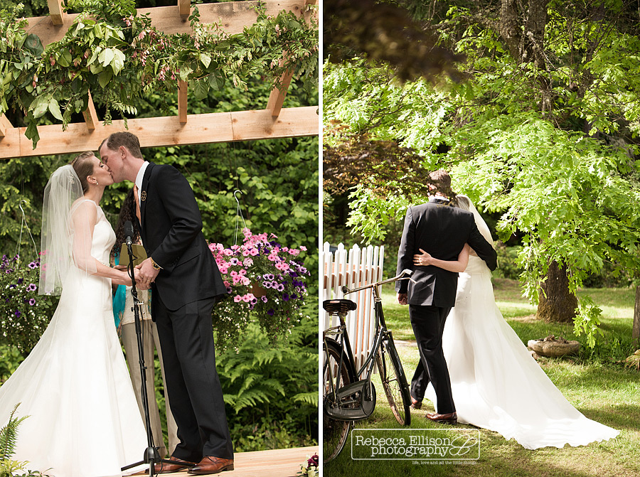 bride and groom kiss during backyard wedding ceremony