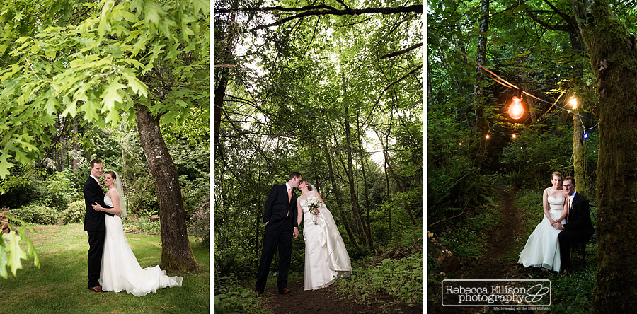 portraits of bride and groom in the woods