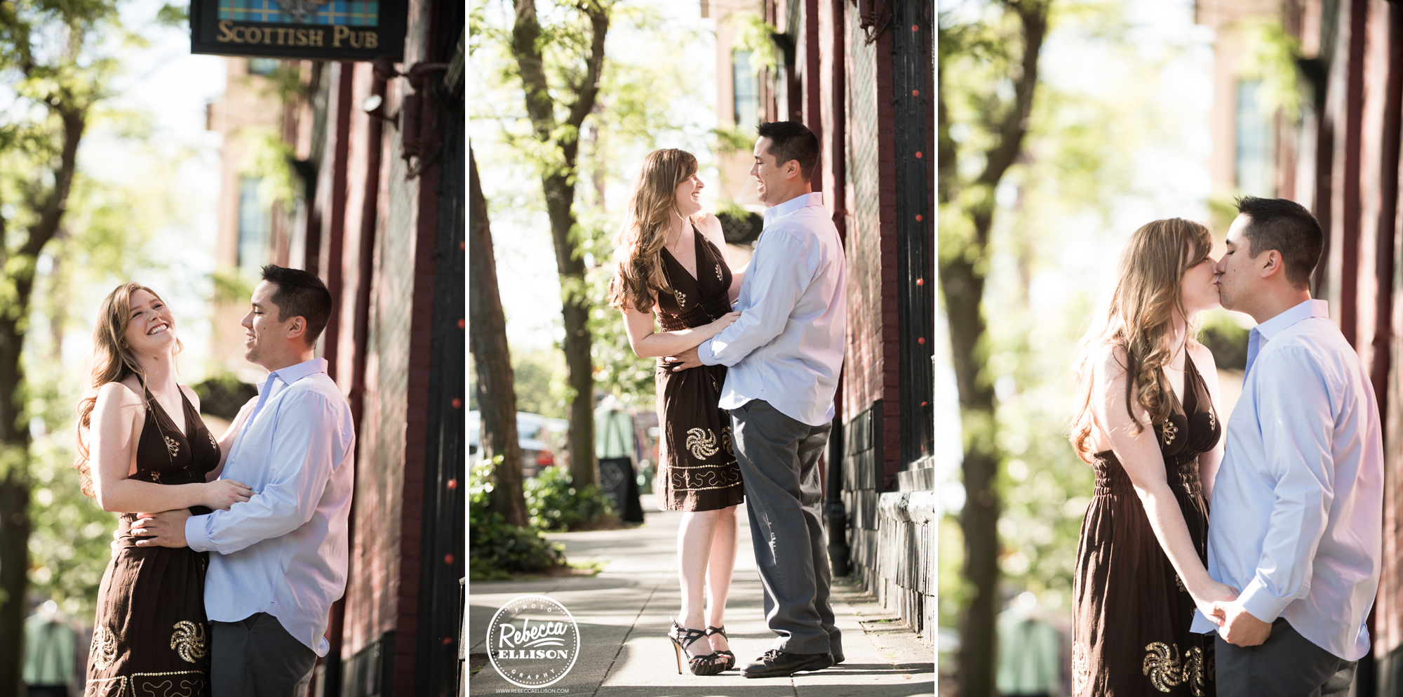 Couple celebrates their engagement in Downtown Ballard photographed by Ballard engagement photographer Rebecca Ellison