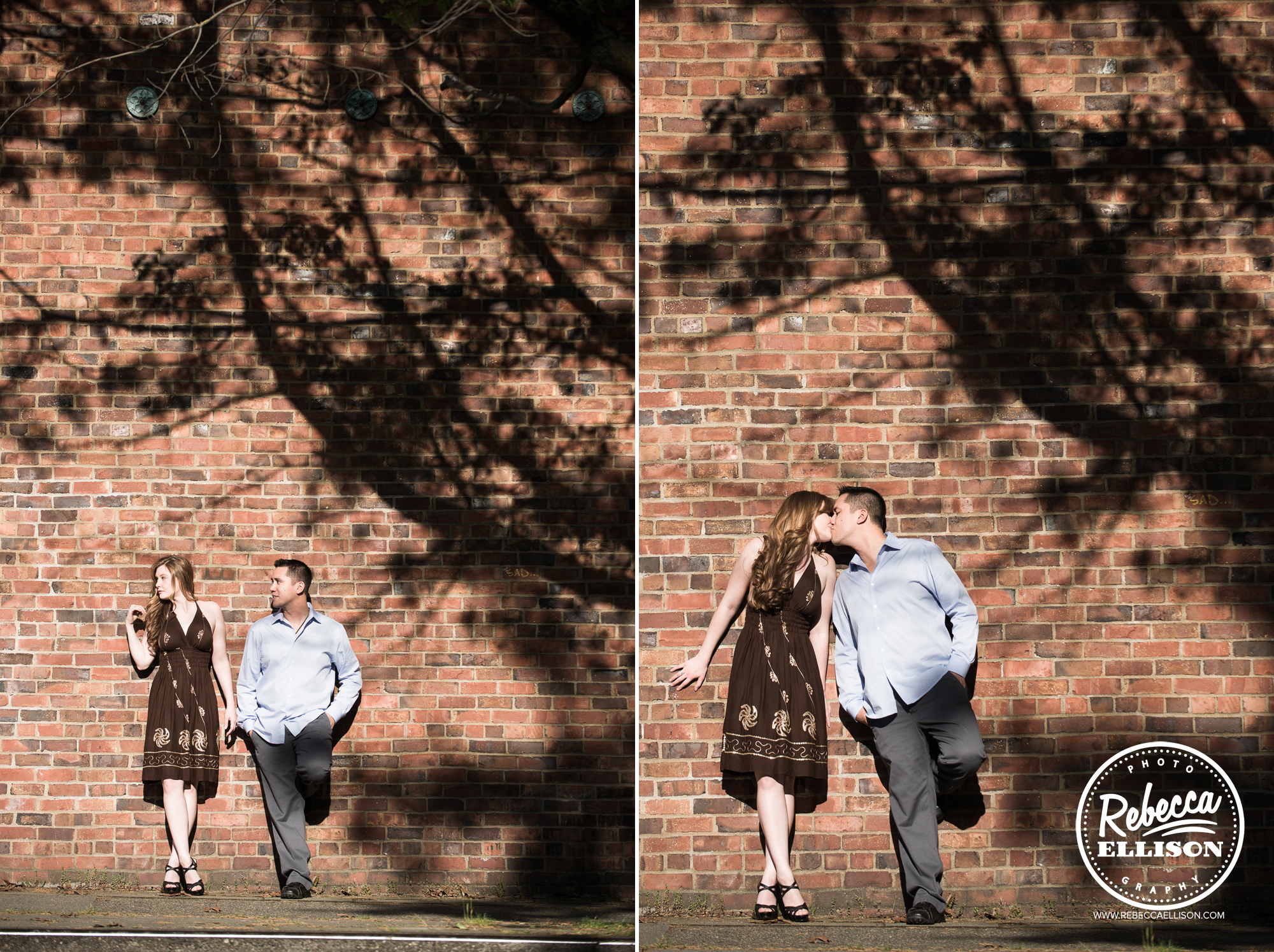 Couple stands against a brick wall in Ballard during their out engagement portraits photographed by Seattle Engagement photographer Rebecca Ellison