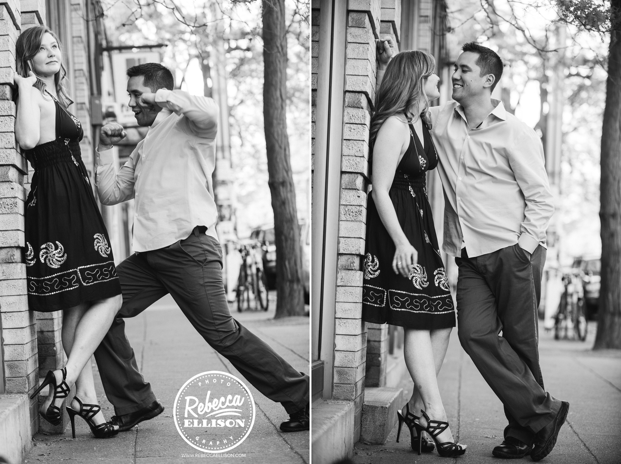 Silly engagement photos in Ballard photographed by Seattle engagement photographer Rebecca Ellison