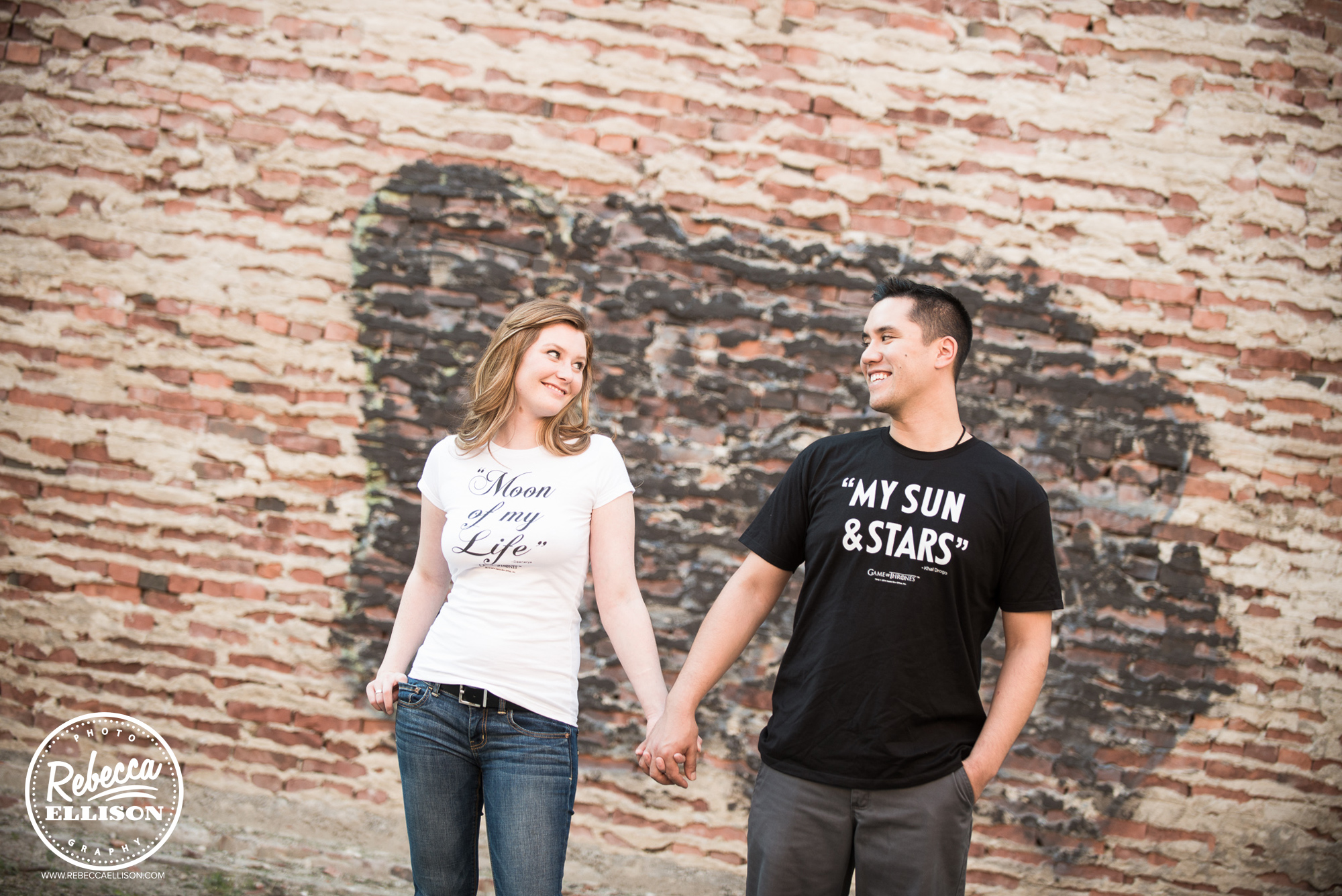 Game of Thrones t-shirts during an outdoor engagement photo session in Ballard photographed by Ballard Engagement photographer Rebecca Ellison