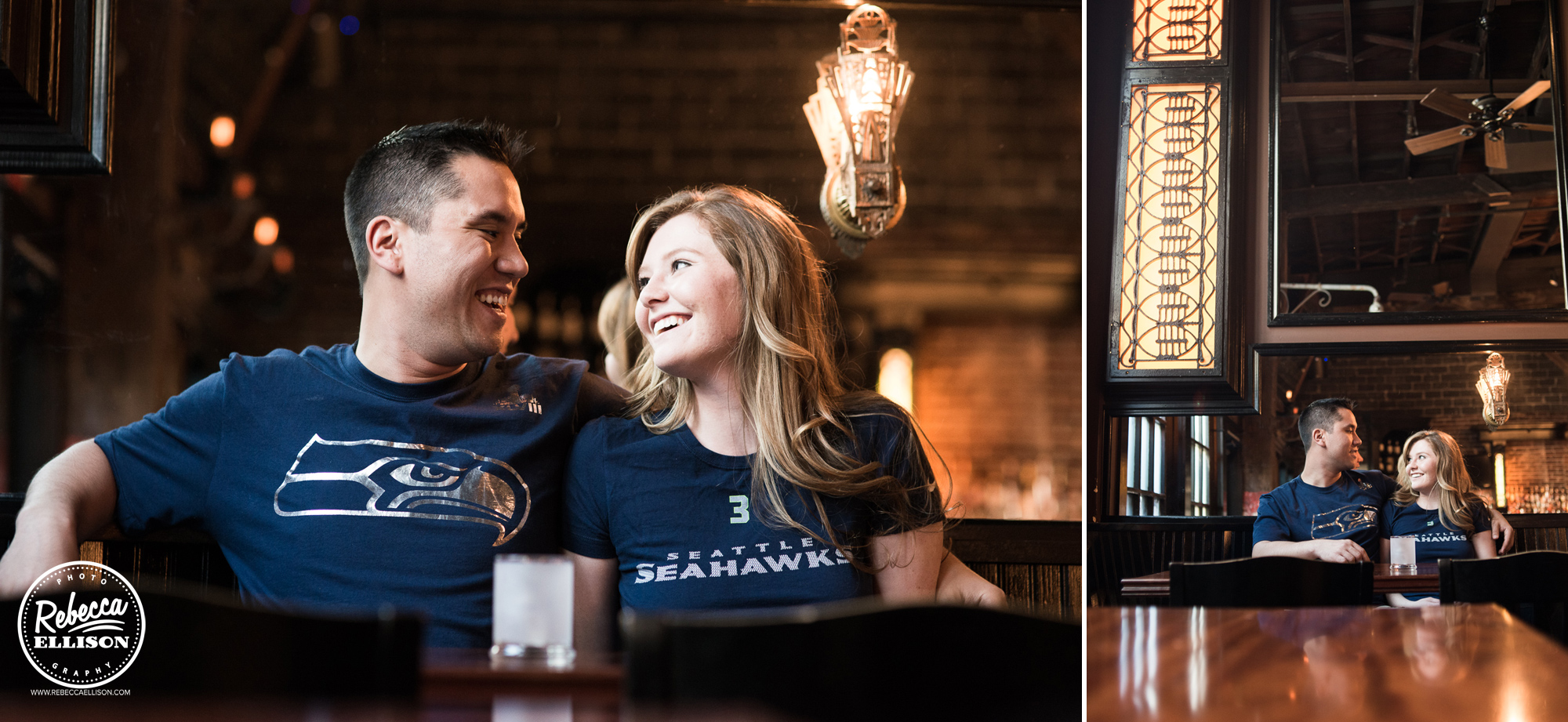 A couple celebrates their engagement wearing Seattle Seahawks t-shirts at the Bastille Bar in Ballard photographed by Rebecca Ellison Photography