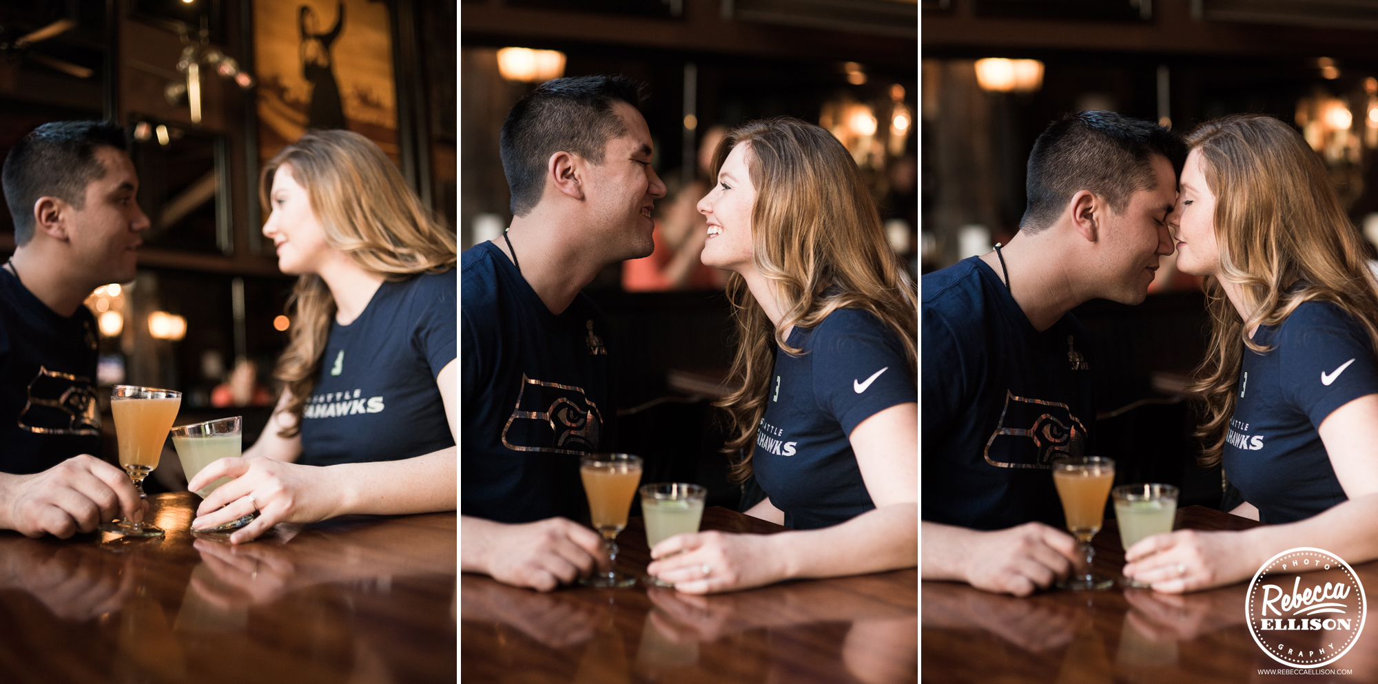 Seahawks t-shirts and coktails at the Bastille Bar highlight this Ballard engagement portrait session photographed by Ballard engagement photographer Rebecca Ellison