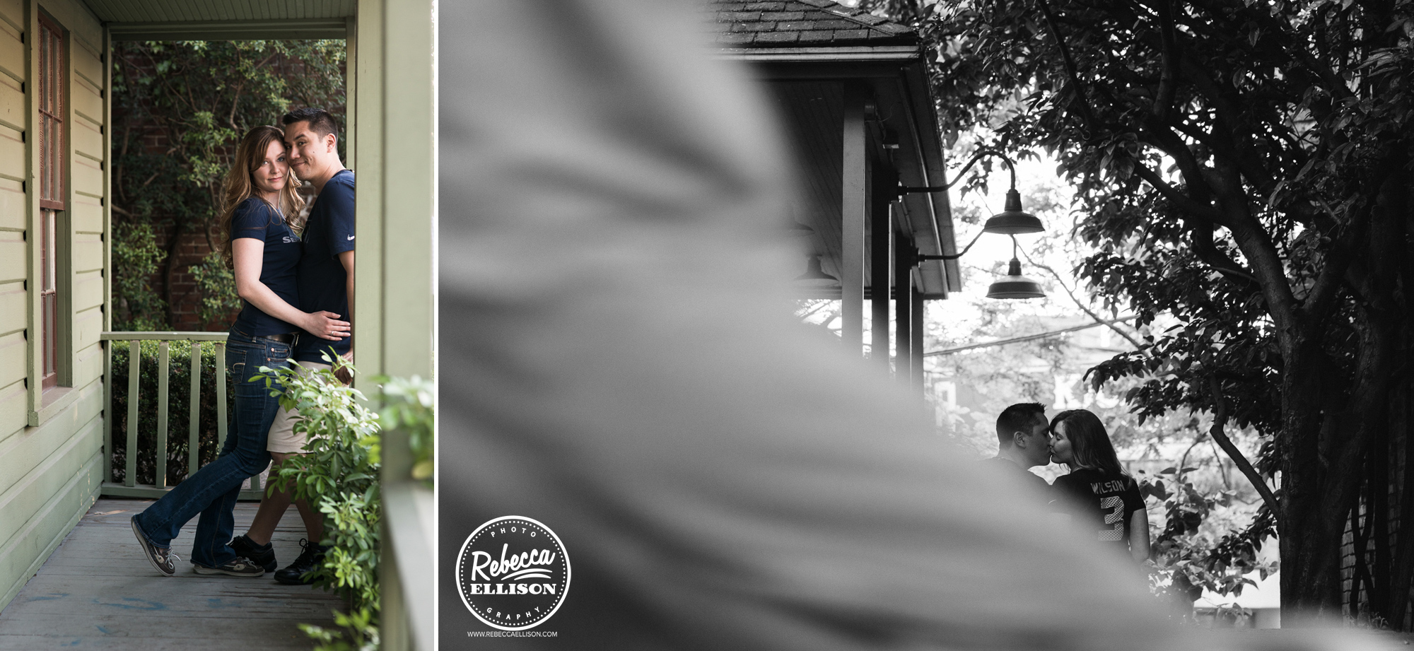 Rural engagement photos on a beautiful porch photographed by Seattle engagement photographer Rebecca Ellison