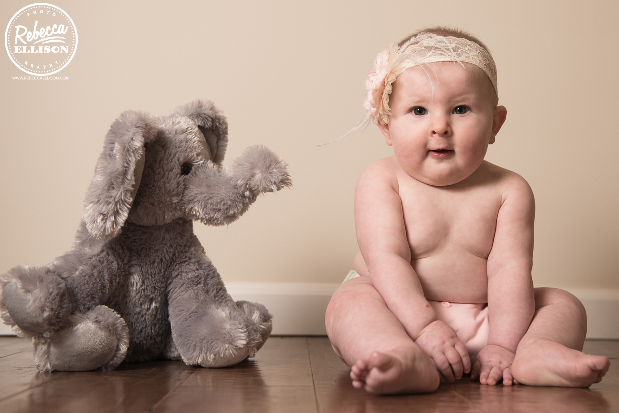 Baby Girl with Toy Elephant during a custom portrait session in Bellevue Washington photographed by Rebecca Ellison Photography