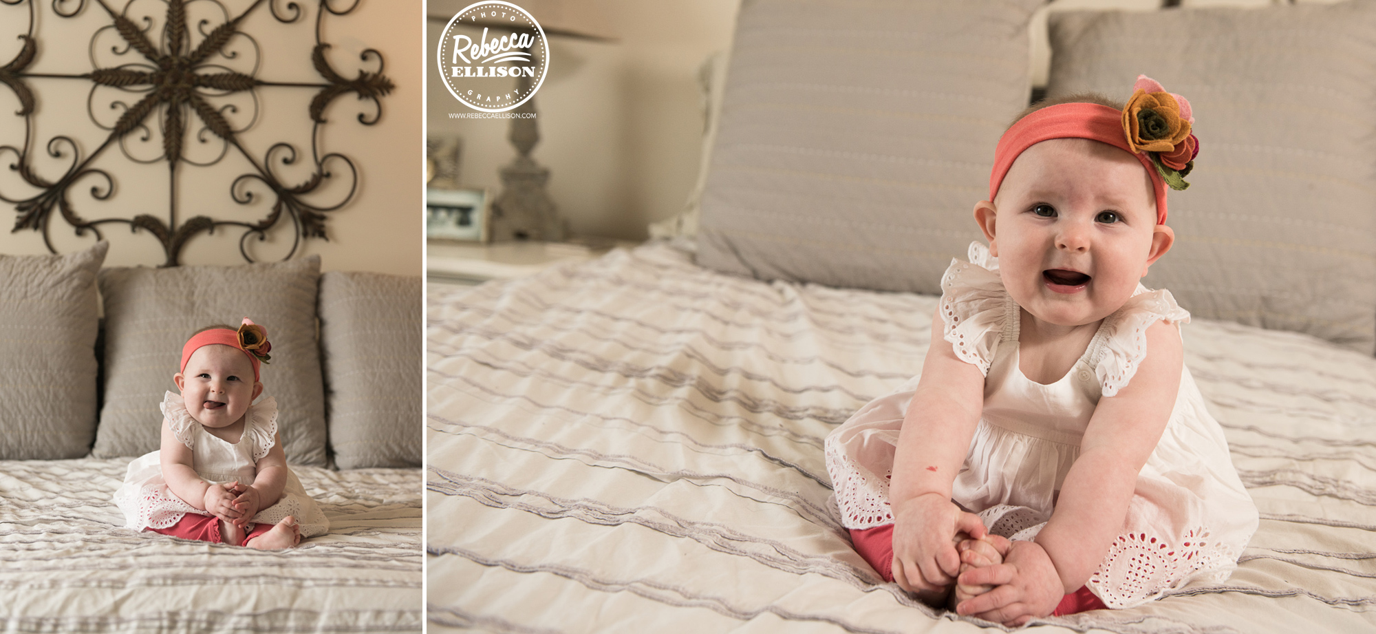 Baby sits on a bed during a lifestyle photography session photographed by bellevue photographer Rebecca Ellison