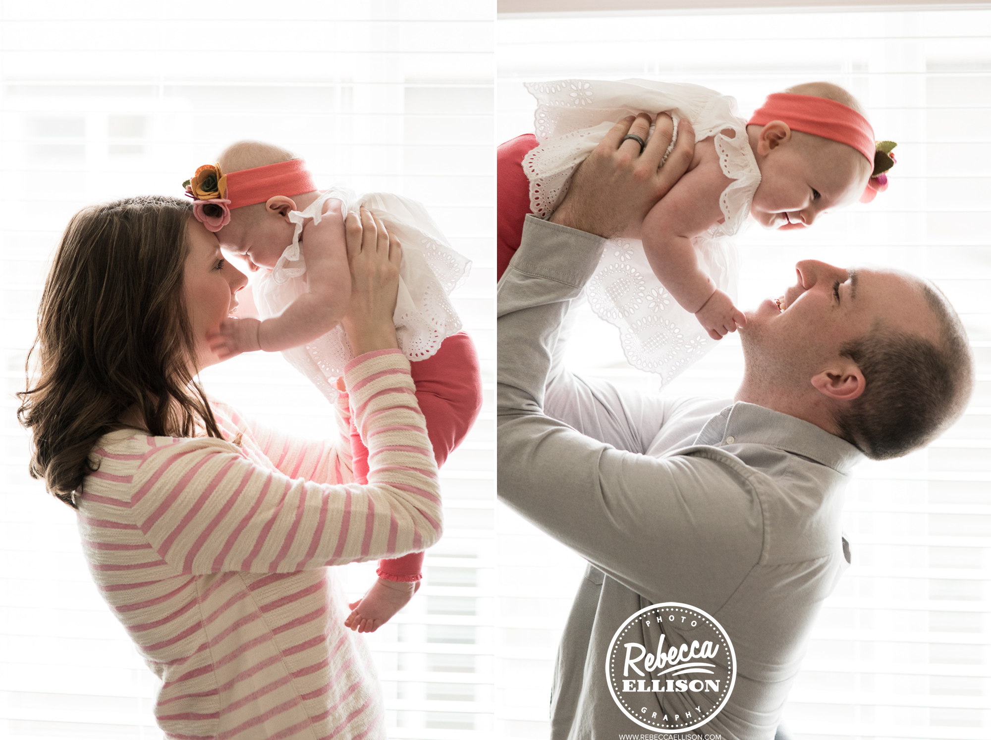 Family playtime with baby photographed by Bellevue baby photographer Rebecca Ellison