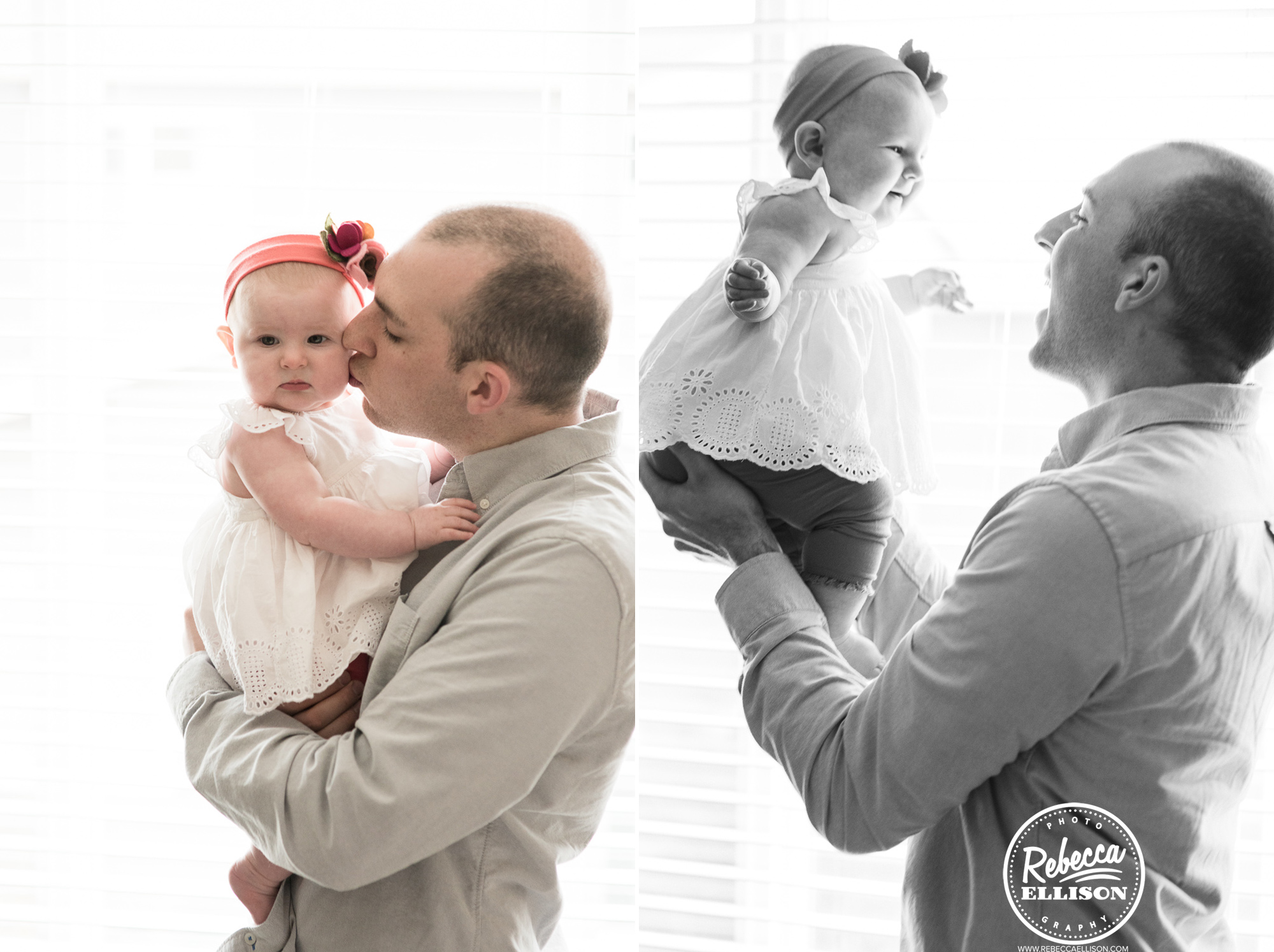 A father and his baby during an in home portrait session photographed by Rebecca Ellison Photography