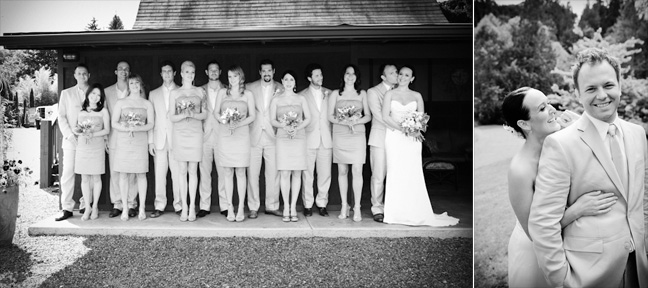 Black and white bridal party portraits at an elegant garden wedding at Jardin Del Sol photographed by Rebecca Ellison Photography