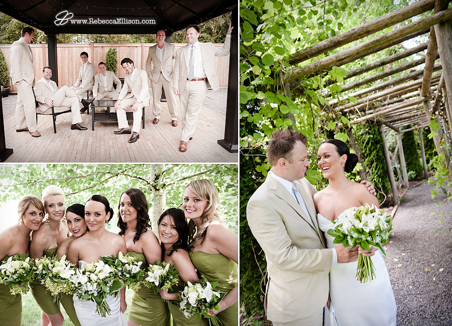 Wedding party portraits at Jardin Del Sol featuring tan suits and herb green bridesmaids dresses photographed by Rebecca Ellison Photography