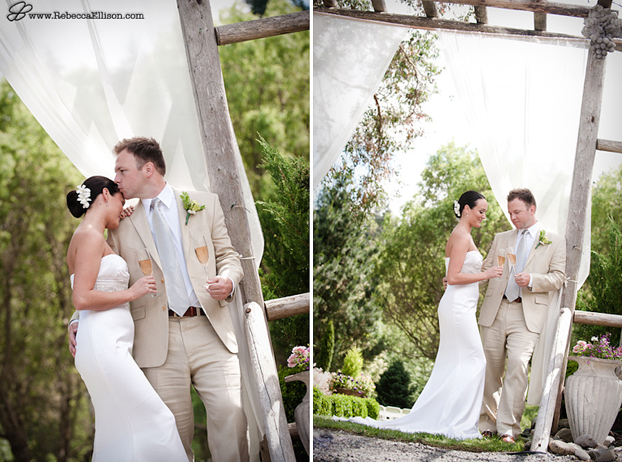 Outdoor wedding portraits at Jardin Del Sol for an elegant garden wedding featuring a tan suit and strapless wedding dress from La Belle Reve photographed by Snohomish wedding photographer Rebecca Ellison