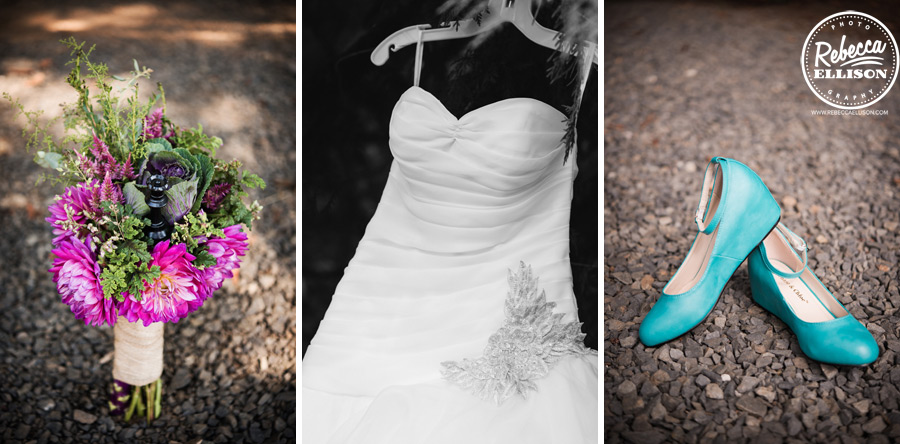 chess-inspired-wedding- fushia bouquet with queen chess piece and teal wedge wedding shoes