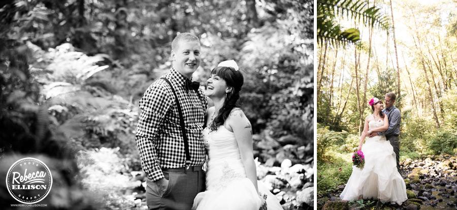chess-inspired-wedding-005 fushia wedding flowers, groom in checkered shrit, suspenders and bowtie