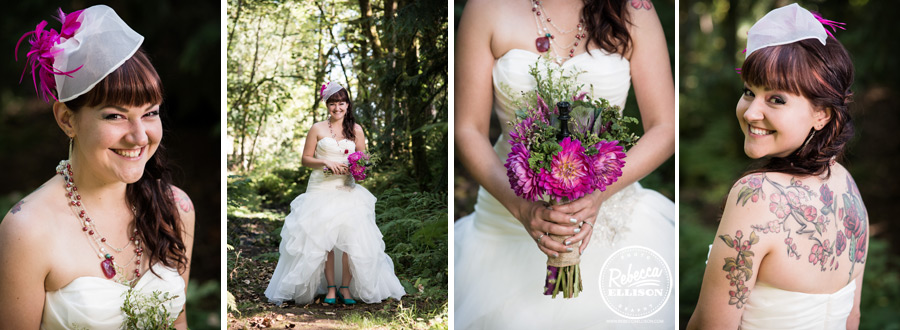 chess-inspired-wedding-007 bride details, fushia flowers and fushia feather in birdcage veil, strapless hig low wedding dress and side braid, teal shoes