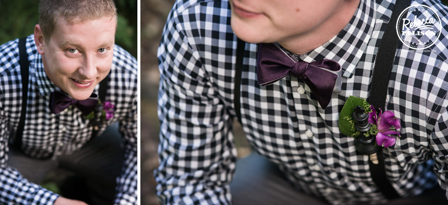 chess-inspired-wedding-008 groom details, satin purple bow tie, black and white checkered shirt, suspendars and chess king in boutineer