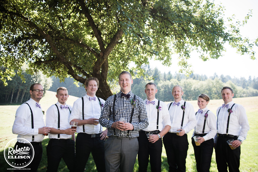 chess-inspired-wedding-014 groomsmen white shirt, suspenders and purple and white striped bowtie