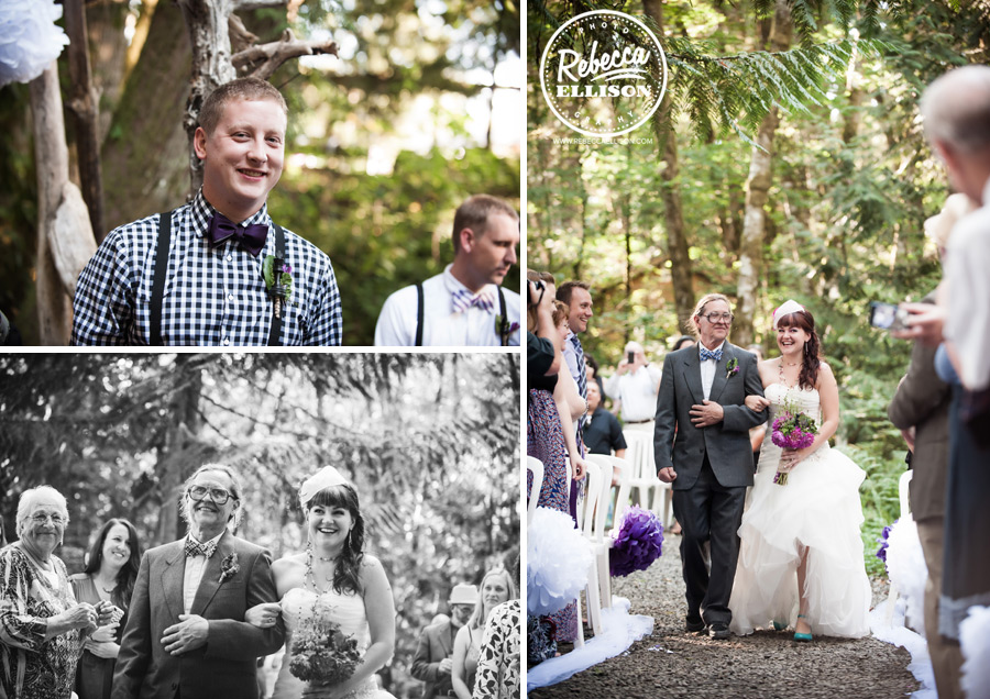 chess-inspired-wedding-021 wedding ceremony in woods at hornings hideout in oregon
